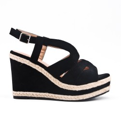 Black sandal in faux suede with wedge heel