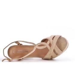 Beige faux suede sandal