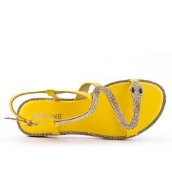 Sandale jaune à motif serpent