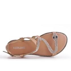 Sandale beige à motif serpent