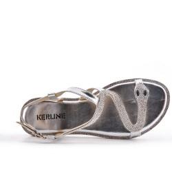 Sandale argent à motif serpent
