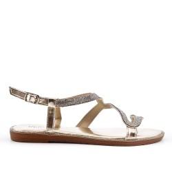 Sandale dorée à motif serpent