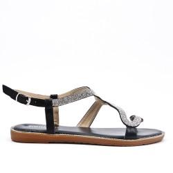 Sandale noire à motif serpent