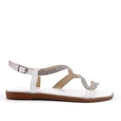Sandale blanche à motif serpent