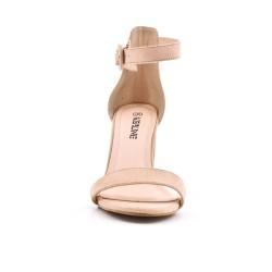 Sandale beige en simili daim à boucle