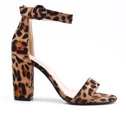 Leopard faux bucked suede sandal