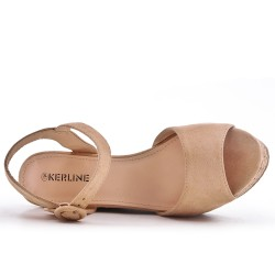 Sandale compensée kaki en simili daim