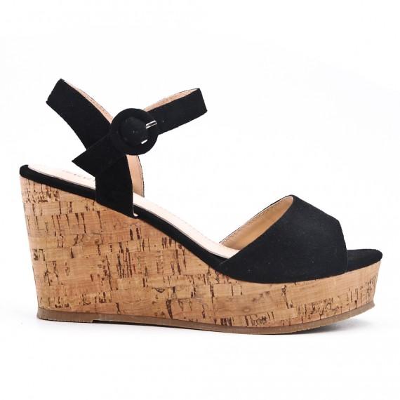 Sandale En Noire Simili Compensée Daim hxQrtsdC