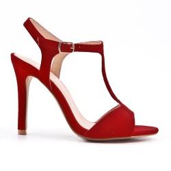 Sandale rouge en simili daim à talon