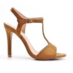 Camel faux suede sandals