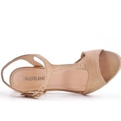Sandale kaki en simili daim à talon