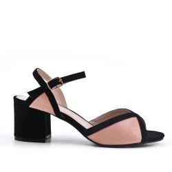 Sandale bicolore en simili daim à talon carré