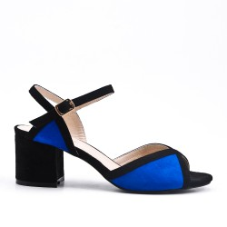 Two-tone sandal in faux suede with square heel