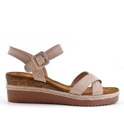 Beige faux suede sandal with small wedge