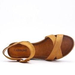Camel sandal in faux suede with small wedge