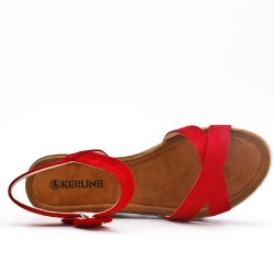 Red faux suede sandal with small wedge