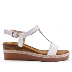 White faux suede sandal with small wedge