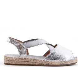 Silver espadrille with open back