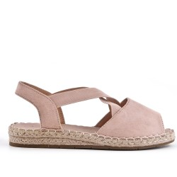 Pink espadrille in open-back faux suede