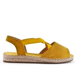 Yellow espadrille in open-back faux suede