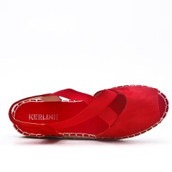 Red espadrille in open-back faux suede