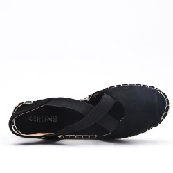 Black espadrille in open-back faux suede