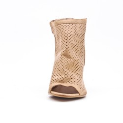 Beige boot in perforated faux suede