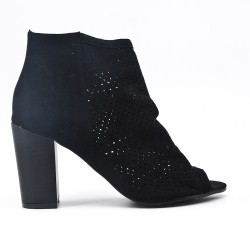 Black ankle boot in perforated faux suede