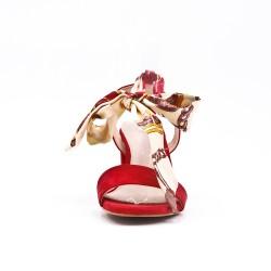 Sandalia roja en gamuza sintética