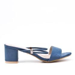 Claquette bleu en simili daim à talon carré