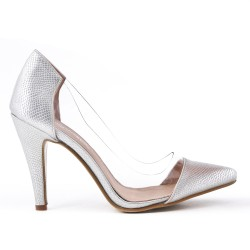 Silver high heel pump