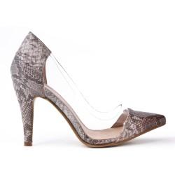 Snake high heel pump