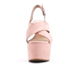 Sandale rose en simili daim avec plateforme
