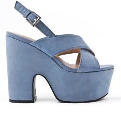 Sandale bleu en simili daim avec plateforme