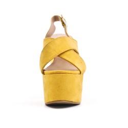 Sandale jaune en simili daim avec plateforme