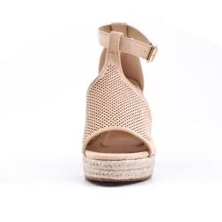 Sandale beige en simili daim perforé