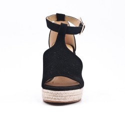 Black sandal in perforated faux suede