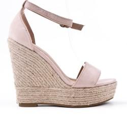 Sandale compensée rose à semelle espadrille