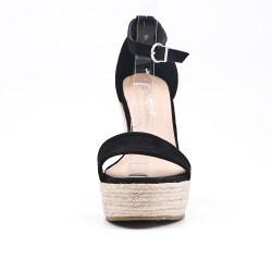 Sandale compensée noire à semelle espadrille
