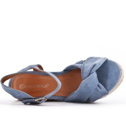 Blue wedge sandal with espadrille sole