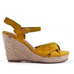 Sandale compensée jaune à semelle espadrille