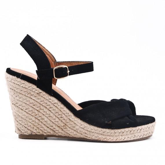 Noire Sandale Compensée À Semelle Espadrille WH29EID