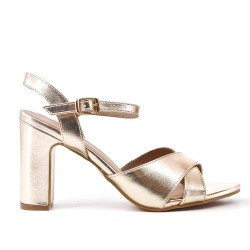 Metallic gold patent high heel sandal