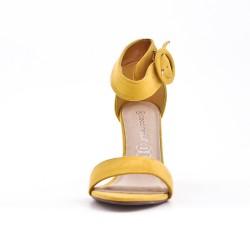 Sandale jaune en simili daim à boucle