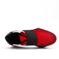 Basket rouge bi-matière empiècement élastique