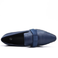 Blue imitation leather loafer with bow
