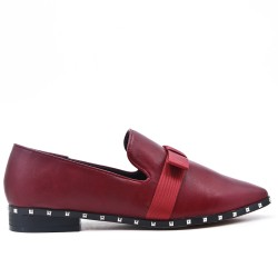 Red imitation leather loafer with bow
