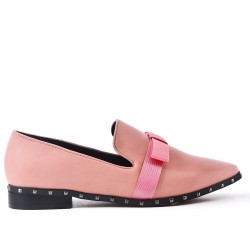 Pink imitation leather loafer with bow