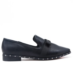 Black imitation leather loafer with bow