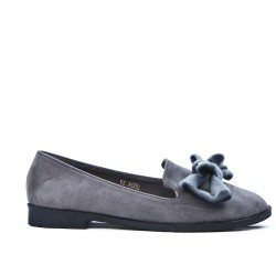 Gray loafer in faux suede with bow